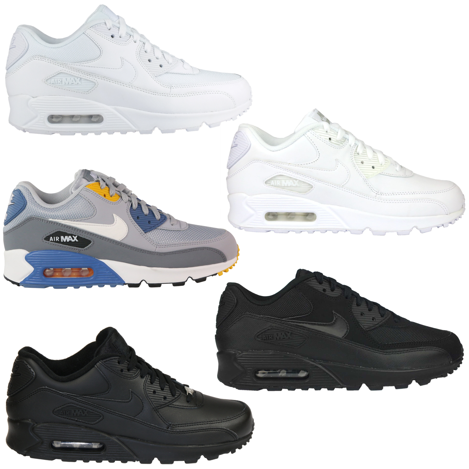 Details about Nike Air Max 90 Essential Shoes Sneaker Mens Real Leather Grey Blue show original title